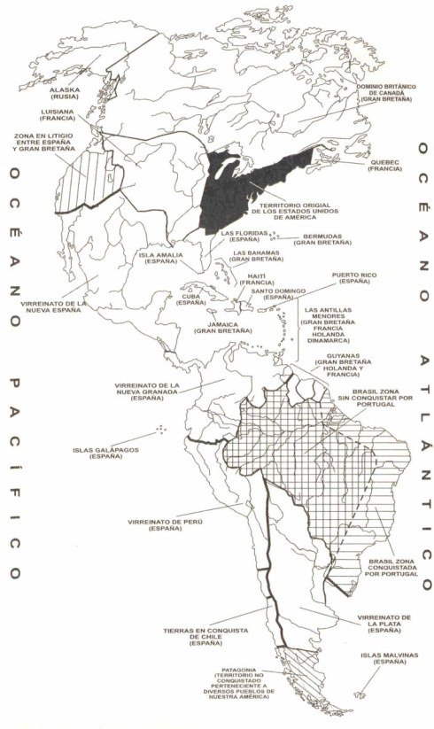 Mapa de la América colonizada
