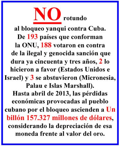 Contra el bloqueo yanqui a Cuba