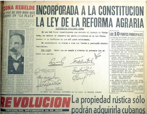 El Periódico Revolución anuncia la incorporación a la Constitución de la Ley de la Reforma Agraria