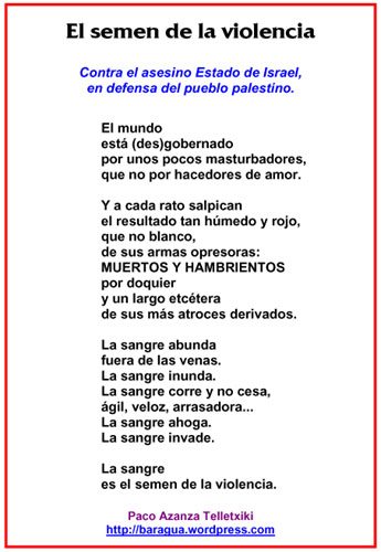"""El semen de la violencia (Paco Azanza Telletxiki) Poema del libro """"Después de todo""""."""