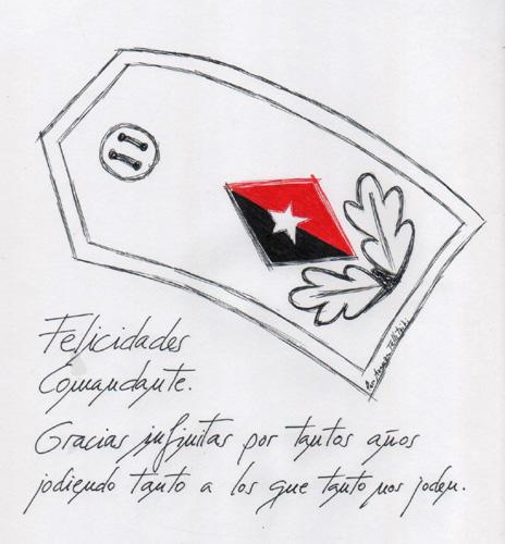 Felicidades Comandante, 2014 (Dibujo: Paco Azanza Telletxiki)