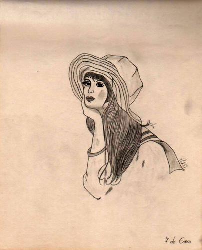 """""""Muchacha pensativa y con sombrero"""", 1987 (Dibujo: Paco Azanza Telletxiki)"""