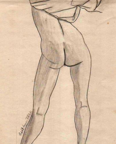 De espaldas y desnuda, 1987 (Dibujo: Paco Azanza Telletxiki)