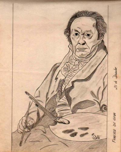 Francisco de Goya, reproducción, 1986 (Dibujo: Paco Azanza Telletxiki)