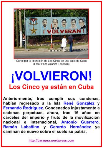 Cartel por la liberación de Los Cinco en una calle de Cuba web copia