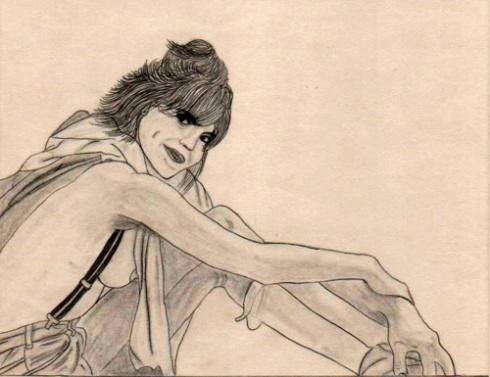 Chica con tirantes, 1987 (Dibujo: Paco Azanza Telletxiki)