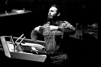 Fidel en 1960, discursando en la ONU