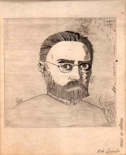 Miguel de Unamuno, 1986 (Dibujo: Paco Azanza Telletxiki)