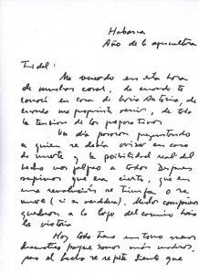 Copia del manuscrito de la carta del Che