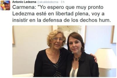 Carmena con Mitzy Capriles en un tuit del golpista Ledezma