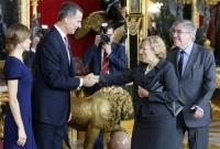 Carmena saludando al rey el pasado 12 de octubre