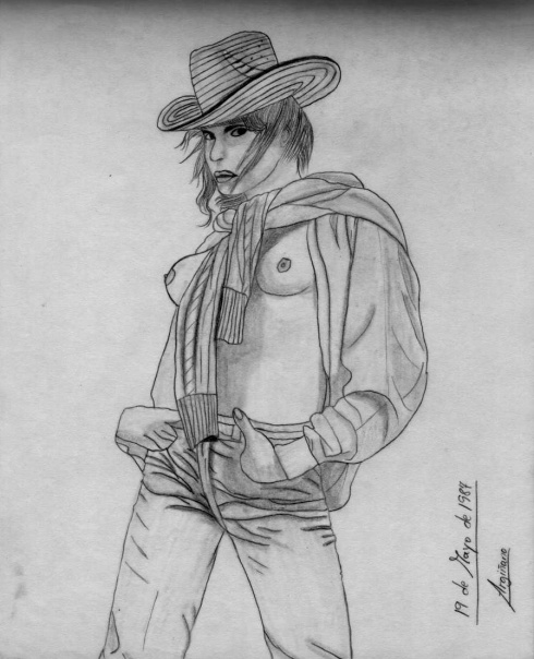 Mirada de chica con sombrero, 1987 (Dibujo: Paco Azanza Telletxiki)