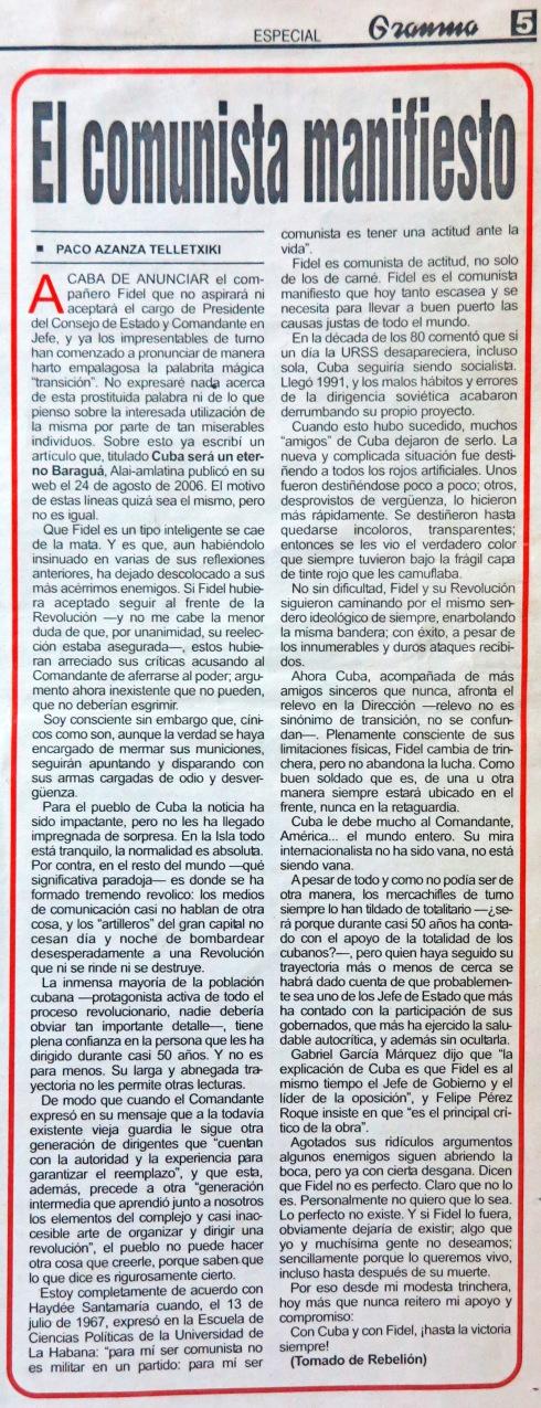 Fragmento de la página 5 del Diario Granma, sábado 23 de febrero de 2008
