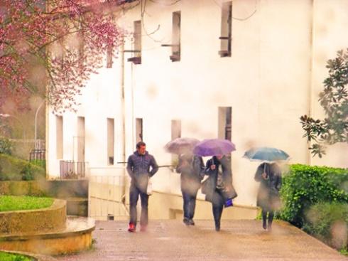 Paseantes en día de lluvia (05), 2014 (Foto: Paco Azanza Telletxiki)